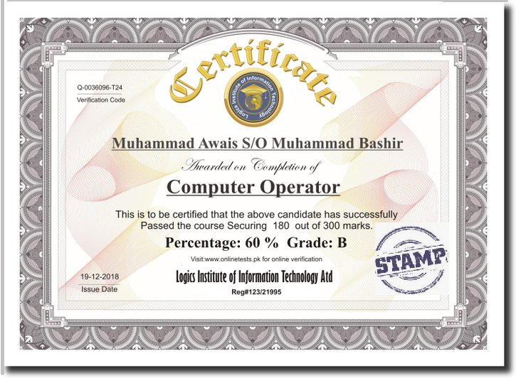 Onlinetest online examination system certificate sample yadclub Image collections